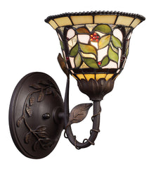 08014-TBH Latham 1-Light Tiffany-Style Sconce in Tiffany Bronze ELK Lighting