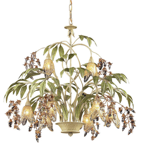 86054 Huarco 8-Light Chandelier w/Crystal & Hand-Blown Shades ELK Lighting