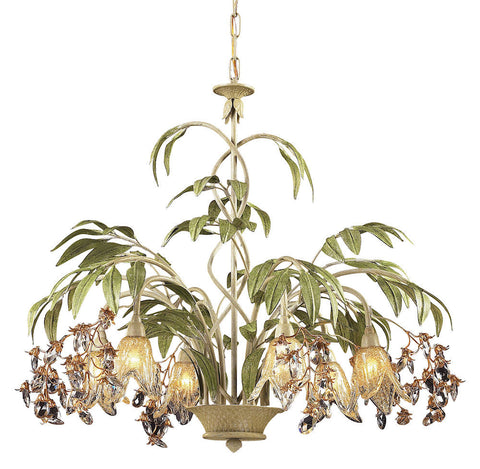 86053 Huarco 6-Light Chandelier w/Crystal & Hand-Blown Shades ELK Lighting