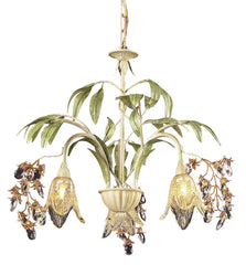 86052 Huarco 3-Light Chandelier w/Crystal & Hand-Blown Shades ELK Lighting