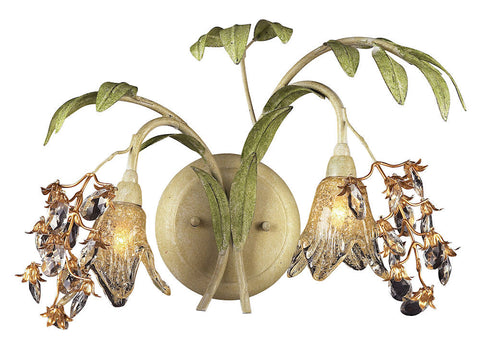 16050 Huarco 2-Light Sconce w/Crystal & Hand-Blown Shades ELK Lighting