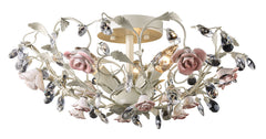 18096/3 Heritage 3-Light Semi Flush Cream Porcelain Roses Crystal ELK Lighting