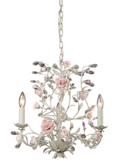 8091/3 Heritage 3-Light Chandelier Cream Porcelain Roses Crystal ELK Lighting