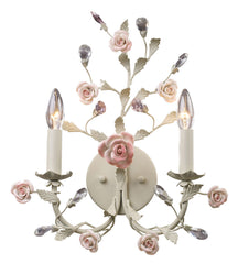 8090/2 Heritage 2-Light Sconce Cream Porcelain Roses Crystal ELK Lighting