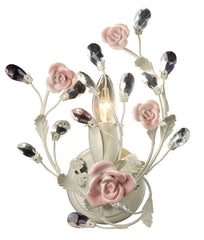 18093/1 Heritage 1-Light Sconce Cream Porcelain Roses Crystal ELK Lighting
