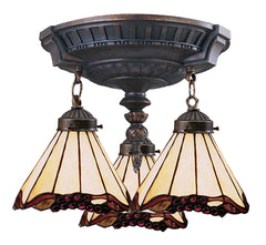 997-AW-03 Grape Trellis Mix-N-Match 3-Lite Tiffany-Style Semi Flush ELK Lighting