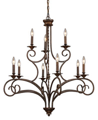 15043/6+3 Gloucester 9-Light Chandelier in Antique Bronze ELK Lighting