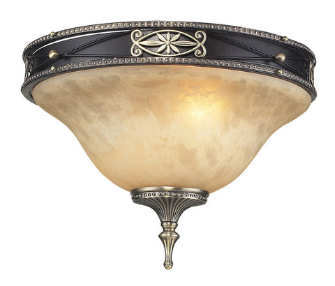2424/2 Georgian Court 2-Light Flushmount in Antique Bronze/Umber ELK Lighting