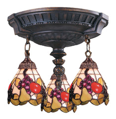 997-AW-19 Fruit Mix-N-Match 3-Light Tiffany-Style Semi Flush ELK Lighting