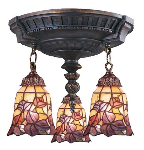 997-AW-17 Floral Garden Mix-N-Match 3-Lite Tiffany-Style Semi Flush ELK Lighting