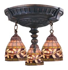997-AW-13 English Ivy Mix-N-Match 3-Light Tiffany-Style Semi Flush ELK Lighting