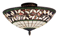 933-TB English Ivy 3-Light Tiffany-Style Semi Flush ELK Lighting