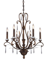 2183/6 Emilion 6-Light Chandelier in Burnt Bronze with Crystal ELK Lighting