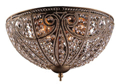 5963/6 Elizabethan 6-Light Flushmount in Dark Bronze w/Crystal ELK Lighting