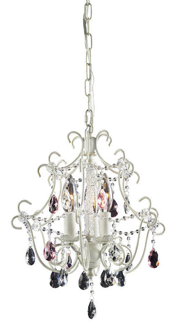 4041/3 Elise 3-Lite Mini Chandelier in Antique White w/Crystal ELK Lighting