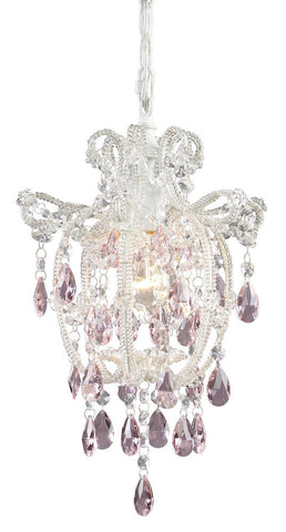 12008/1 Elise 1-Lite Mini Chandelier in Antique White w/Crystal ELK Lighting