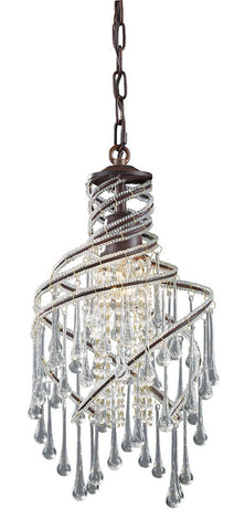 12002/1 Elise 1-Light Mini Chandelier in Rust with Crystal ELK Lighting