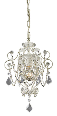 12017/1 Elise 1-Light Mini Chandelier in Antique White w/Crystal ELK Lighting