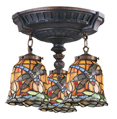 997-AW-12 Dragonfly Mix-N-Match 3-Light Tiffany-Style Semi Flush ELK Lighting