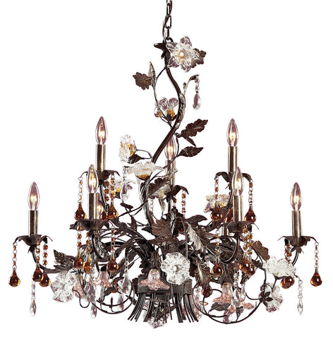 85003 Cristallo Fiore 9-Light Chandelier w/Crystal & Florets ELK Lighting