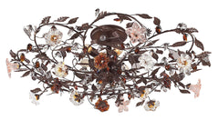 7047/6 Cristallo Fiore 6-Light Semi Flush w/Crystal & Florets ELK Lighting