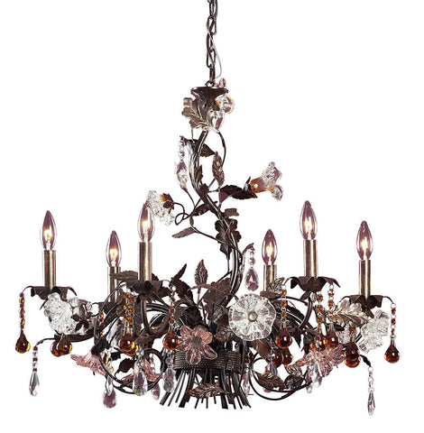 85002 Cristallo Fiore 6-Light Chandelier w/Crystal & Florets ELK Lighting