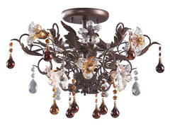7044/3 Cristallo Fiore 3-Lite Semi Flush w/Crystal & Florets ELK Lighting