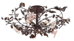 7046/3 Cristallo Fiore 3-Light Semi Flush w/Crystal & Florets ELK Lighting