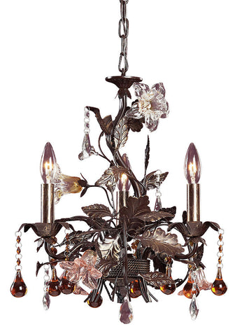 85001 Cristallo Fiore 3-Light Chandelier w/Crystal & Florets ELK Lighting