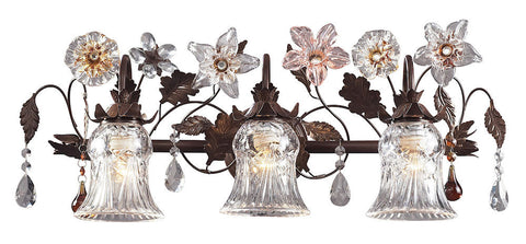 7042/3 Cristallo Fiore 3-Light Bath w/Crystal & Glass Florets ELK Lighting