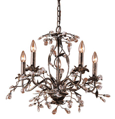 8053/5 Circeo 5-Lite Chandelier in Deep Rust with Crystal ELK Lighting