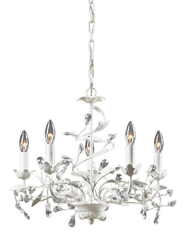 18113/5 Circeo 5-Lite Chandelier in Antique White with Crystal ELK Lighting