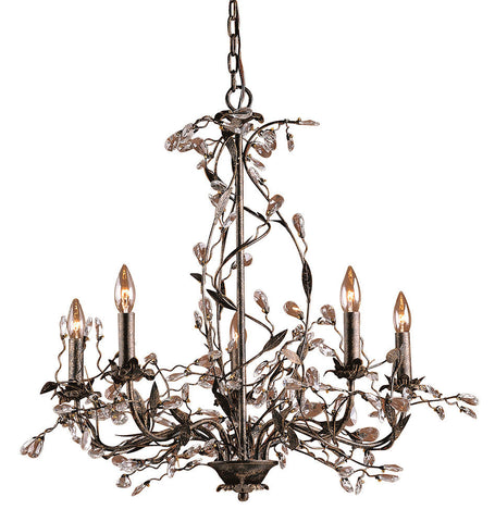 8054/5 Circeo 5-Light Chandelier in Deep Rust with Crystal ELK Lighting