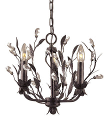 8058/3 Circeo 3-Light Chandelier in Deep Rust with Crystal ELK Lighting