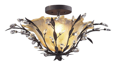 8059/2 Circeo 2-Light Semi Flush in Deep Rust with Crystal ELK Lighting