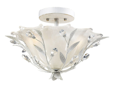 18111/2 Circeo 2-Light Semi Flush in Antique White with Crystal ELK Lighting