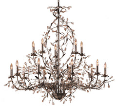 8056/10+5 Circeo 15-Light Chandelier in Deep Rust with Crystal ELK Lighting