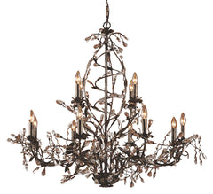 8055/8+4 Circeo 12-Light Chandelier in Deep Rust with Crystal ELK Lighting