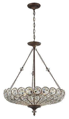 12025/6 Christina 6-Light Pendant in Mocha with Clear Crystal ELK Lighting