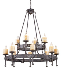 14006/8+4+4 Cambridge 16-Light Chandelier Moonlit Rust w/Stone Covers ELK Lighting