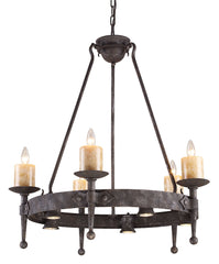 14005/5+5 Cambridge 10-Light Chandelier Moonlit Rust w/Stone Covers ELK Lighting