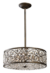 11287/6 Amherst 6-Lite Pendant in Antique Bronze w/Clear Crystal ELK Lighting