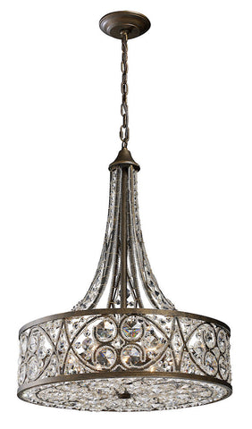 11288/6 Amherst 6-Light Pendant in Antique Bronze w/Clear Crystal ELK Lighting