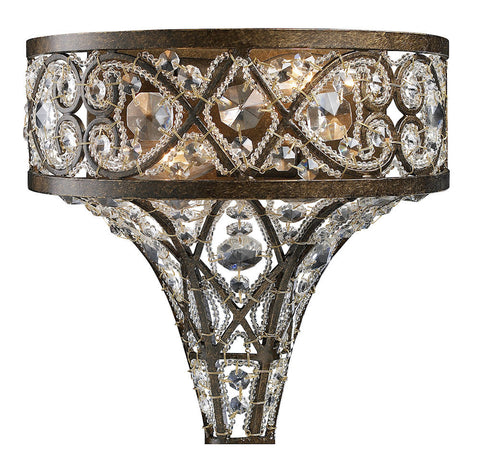 11284/2 Amherst 2-Light Sconce in Antique Bronze w/Clear Crystal ELK Lighting