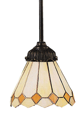 078-TB-05 Amber Diamond Mix-N-Match 1-Light Tiffany-Style Pendant ELK Lighting