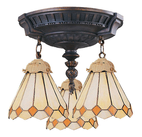 997-AW-05 Amber Diamond Mix-N-Match 3-Lite Tiffany-Style Semi Flush ELK Lighting