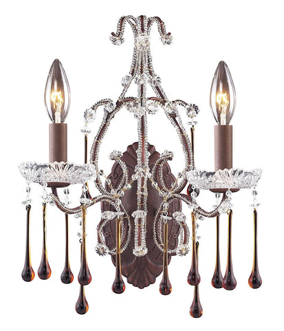 4010/2AMB Opulence 2-Light Wall Sconce 5 Crystal Colors In Rust ELK Lighting