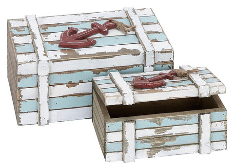 38700 Nautical Anchor Hand Painted Wood Rectangular Box Set/2 by Benzara