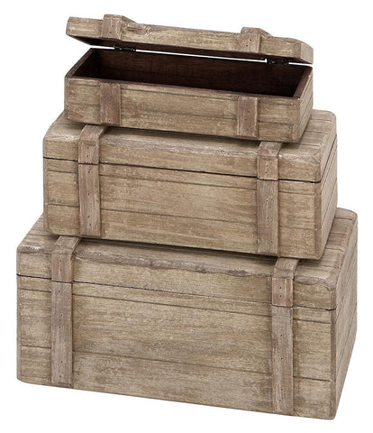 38750 Rustic Nautical Wood Rectangular Storage Box Set/3 by Benzara