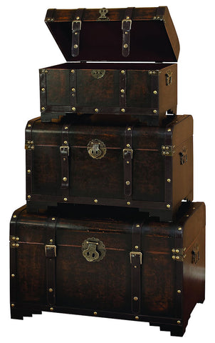 39409 Classic Straps Wood Faux Leather Monitor Top Storage Trunk Set of 3 by Benzara